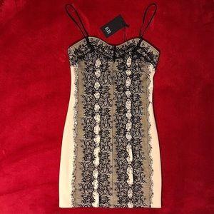 Black Lace Beige Minidress from BEDO